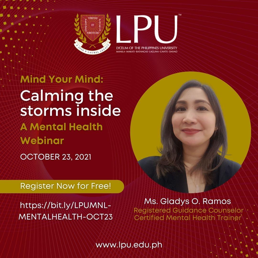 "Mental Health Webinar: ""Mind Your Mind: Calming the storms inside"""